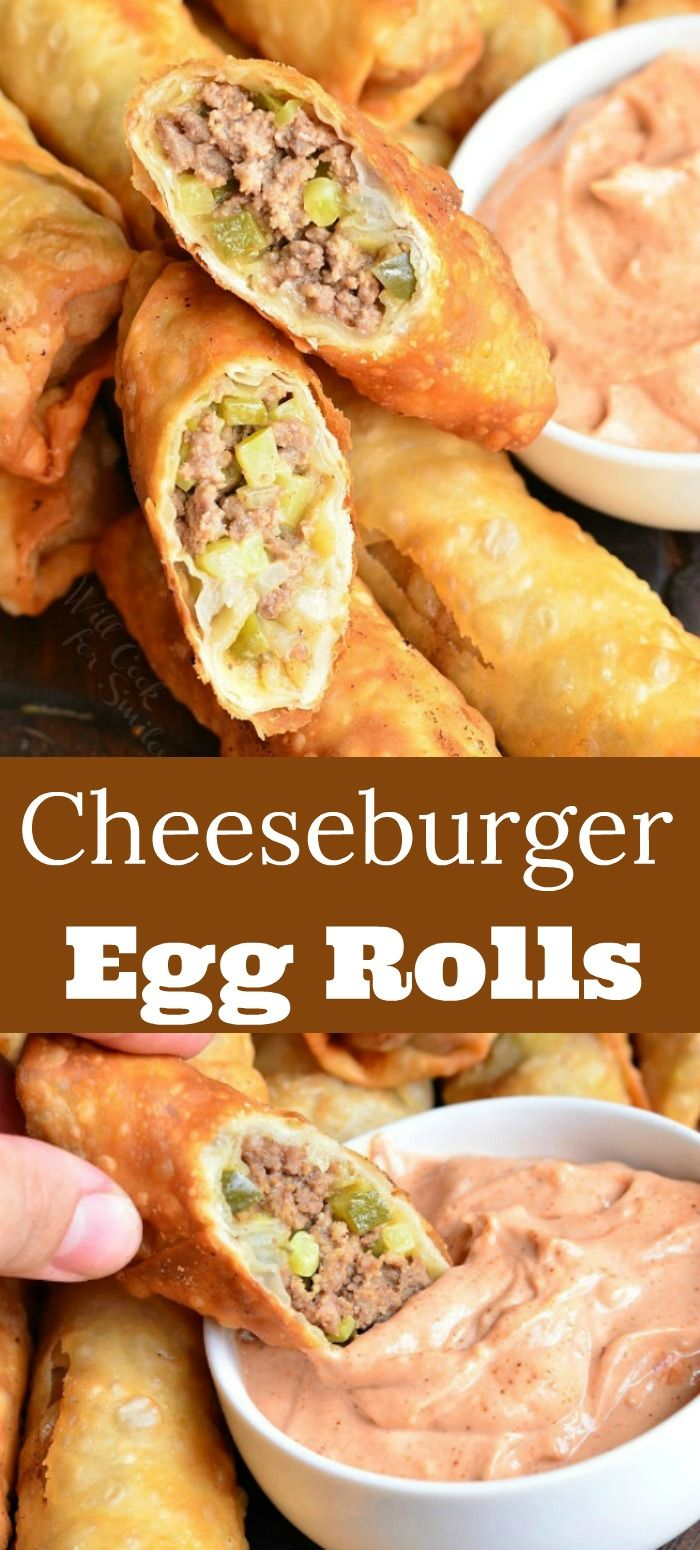 Easy Cheeseburger Egg Rolls Stuffed With Juicy Ground Beef Melted Cheese And Pickles It S Served With A Simple Sauce On Egg Roll Recipes Recipes Meat Snacks