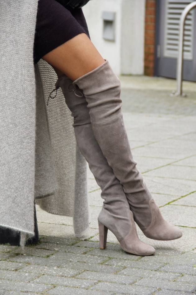 Taupe Suede Over-the-knee Boots  # #Sin By Mannei Sisters