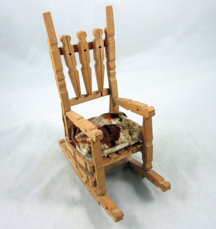 Folk Art Doll Rocking Chair Hand Made Clothes Pin Tramp Miniature ...