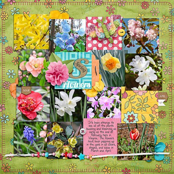 """Spring digital scrapbook page created with the """"Springity Spring"""" digital scrapbooking kit by Kim Jensen and Kate Hadfield 