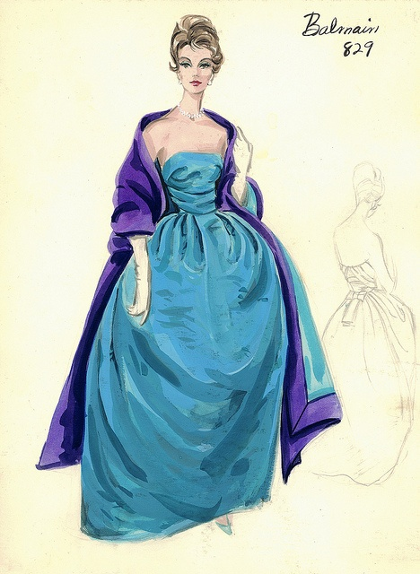 Balmain Haute Couture fashion illustration. Strapless evening ball gown in blue and purple drape beautifully at the bodice with a bow at the back of the dress. Comes with a matching long stole. Includes back views in pencil. Bergdorf Goodman 1950s #Collection #Balmain #Fashion