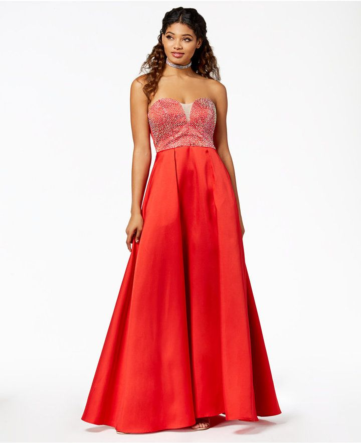 ad6f3b7fa4b Betsy   Adam Plus Size Off-The-Shoulder Ruffled Gown. Say Yes to the Prom  Juniors  Embellished Strapless Ballgown