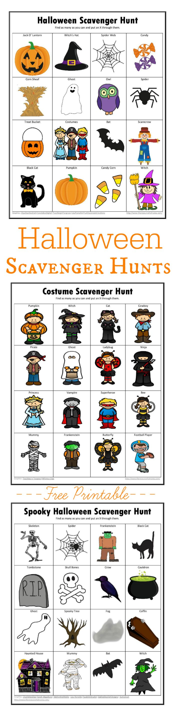 Free printable Halloween scavenger hunts. costume scavenger hunt | spooky Halloween scavenger hunt | not so spooky Halloween scavenger hunt