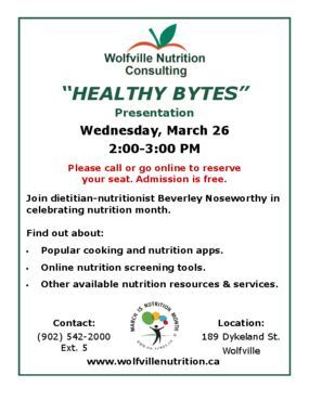 Healthy Bytes - Nutrition month presentation about cooking and nutrition apps.