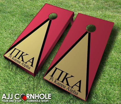 Pi Kappa Alpha Cornhole Set! Show your pride in your Greek organization with this customized cornhole set emblazoned with your fraternity's letters and colors! www.ajjcornhole.com