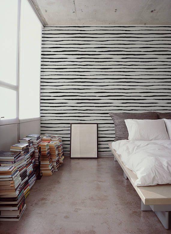 Black Lines Removable Wallpaper Black Wall Mural Etsy Black Walls Removable Wallpaper Wall Murals
