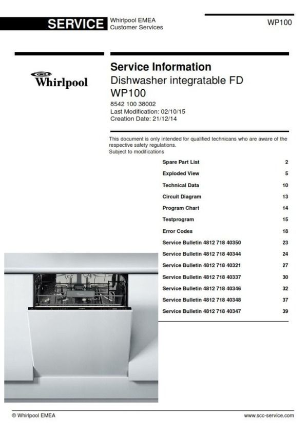 whirlpool wp100 dishwasher service manual and technicians guide