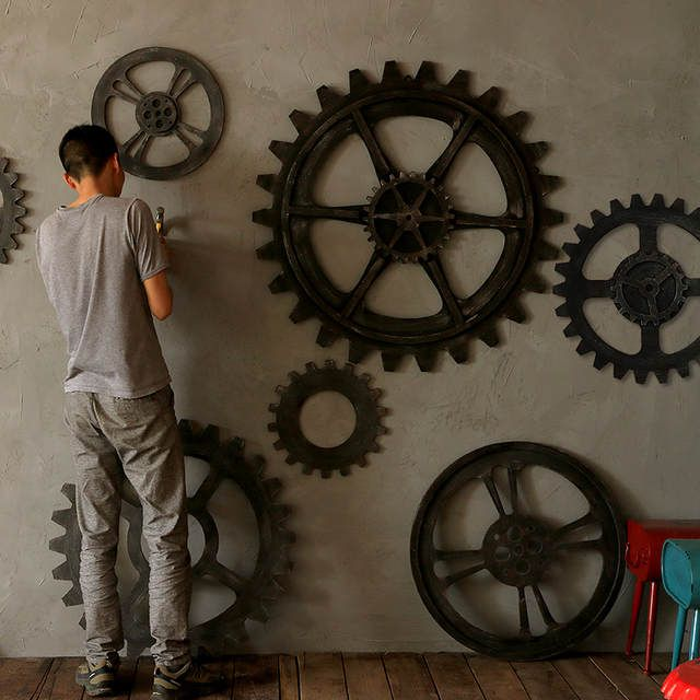 Online Shop Vintage Industrial Wood Large Gear Wall Decoration Muons Hanging Loft Retro Bar In 2020 Vintage Industrial Decor Industrial Wall Art Industrial Wall Decor