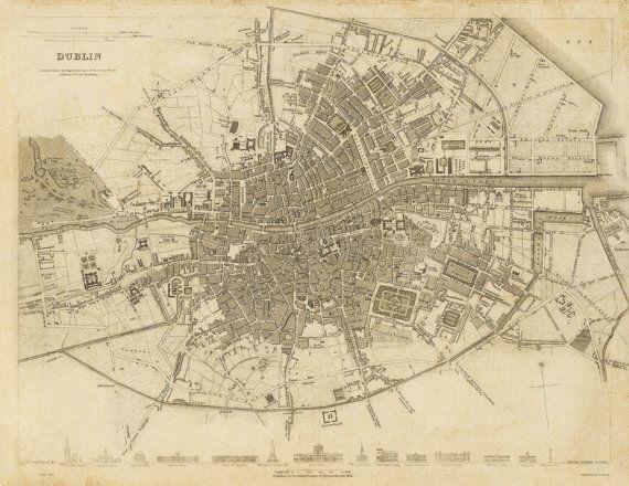 Dublin Ireland 1836  https://www.etsy.com/listing/254591541/dublin-ireland-1836-vintage-map?ref=shop_home_active_1 #Ireland #oldmaps