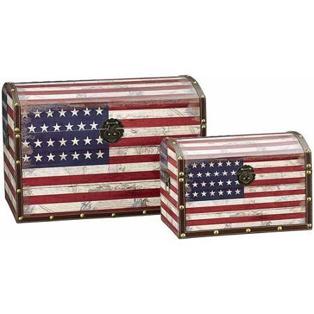 Household Essentials Decorative Storage Trunk, Red White and Blue Design, Set of 2