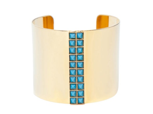 :: Turquoise Pyramid Stone Cuff ::