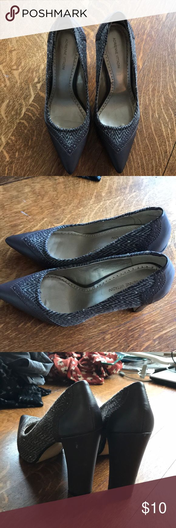 """Adrienne Vittadini Brown/tweed pumps Size 9.5 Adrienne Vittadini brown leather and tweed pumps. 4"""" heel. Worn a couple of times. Scuffs on back that would cover easily with polish. Great life left in them Adrienne Vittadini Shoes Heels"""