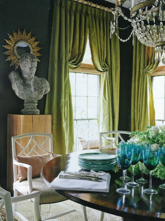 Love The Curtains Source R Higgins Interiors Green Blue Dining Room With Dark Teal Walls Paint Color Silk Pinch Pleat Window Panels