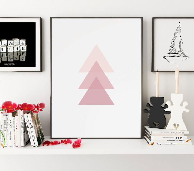 Pink Triangle Print, Geometric Print, Pink, Geometric Art, Pink Wall Art, Pink Wall Print, Triangles, Wall Art