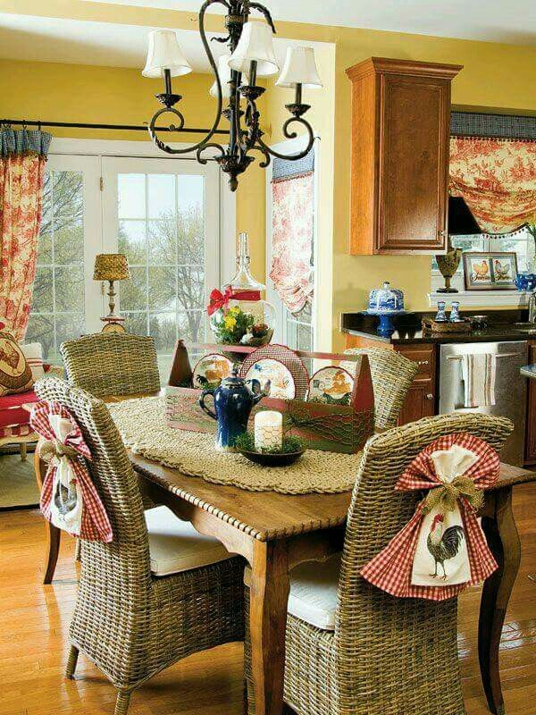 French Country Curtains French Country Style French Country Dining Room Country Charm French Kitchens Country Kitchens Rooster Kitchen Decor