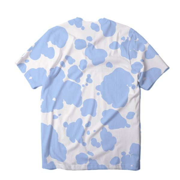our ringer tee with our blue cow print, perfect for casual pastel coords and other sweet outfits you might want to kick up a notch! please allow 4-6 weeks for production plus shipping time, as all our items are currently made to order.