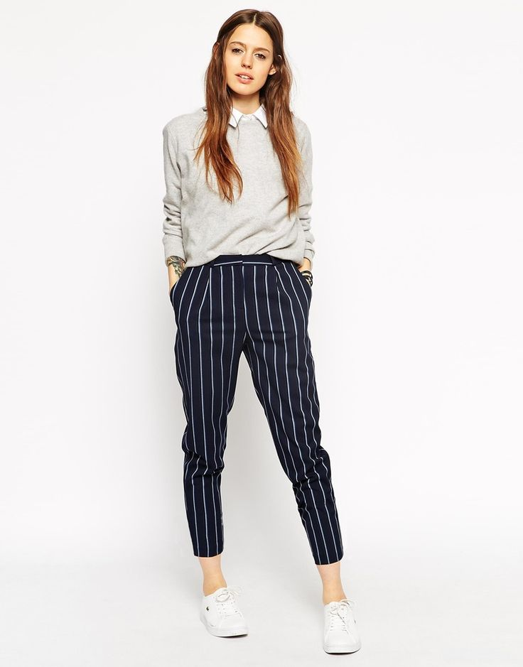 Image 1 of ASOS High Waisted Peg Trouser in Stripe