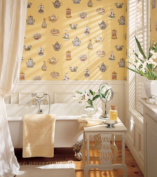 Tea Pot Print Wallpaper In The Bathroom? Meissen Novelty Wallpaper In  Yellow From Gazebo Collection.
