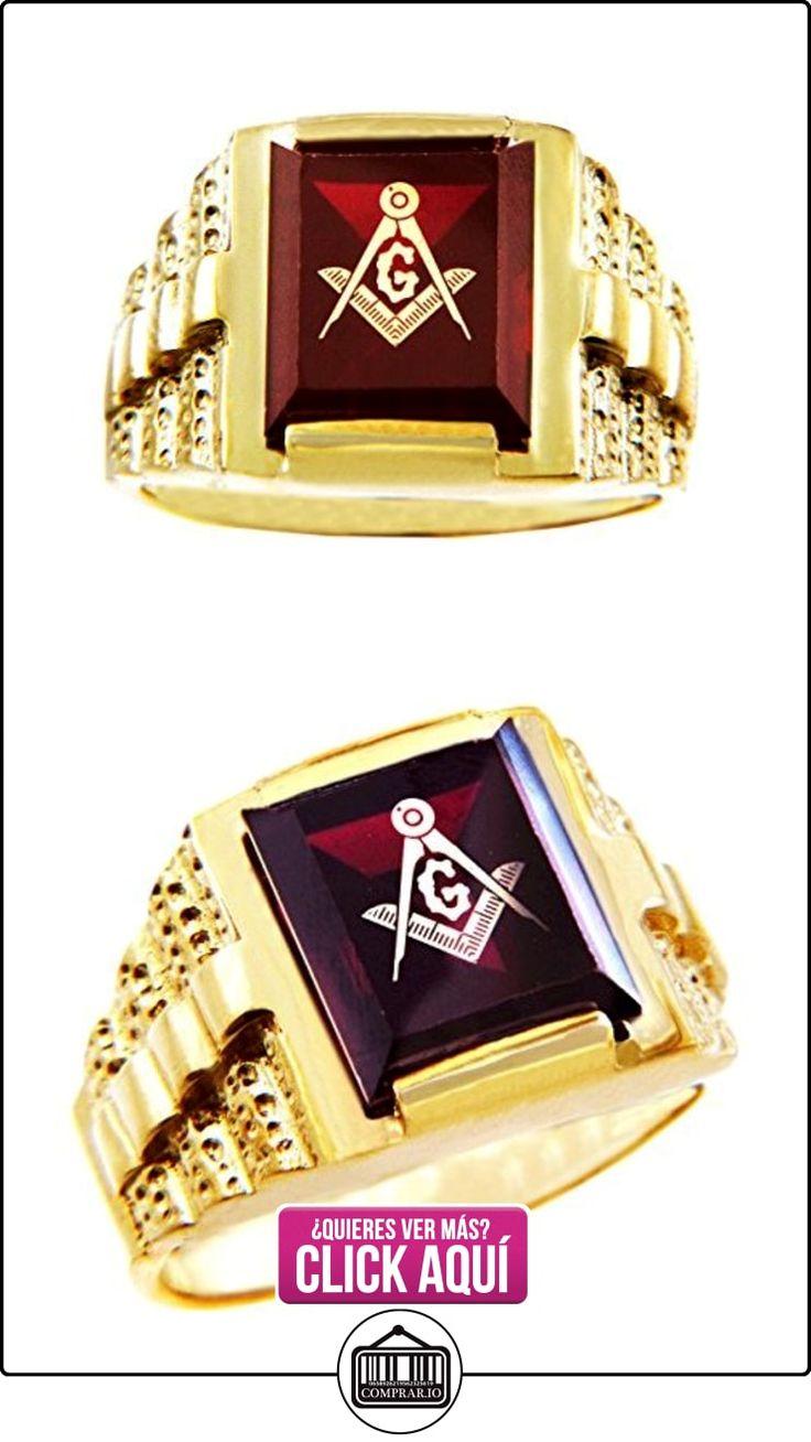 Pequeños Tesoros - Anillos Hombres Alianza De Boda 10 Kt Oro 471/1000 Francmasón Rojo Granate Oro Masónico  ✿ Joyas para hombres especiales - lujo ✿ ▬► Ver oferta: http://comprar.io/goto/B0127UVHVG