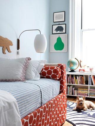 ...Polka Dots, Lights Fixtures, Bedrooms Design, Pink Wallpaper, Cute Kids, Kids Room With Daybeds, Bedrooms Decor, Boys Room, Upholstered Beds