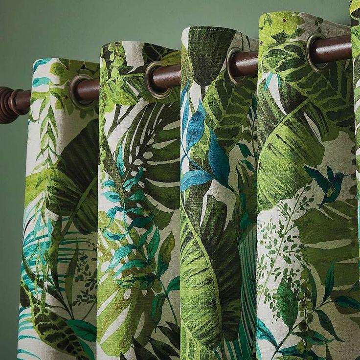 Floresta Green Eyelet Curtains | Dunelm