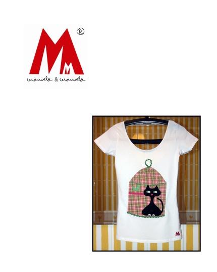 Camiseta estampada con Gato y Pajarito