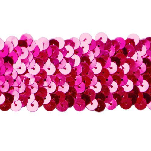 Expo International 10Yard of 4Row Metallic Stretch Sequin Trim 112Inch Fuchsia *** Want additional info? Click on the image.