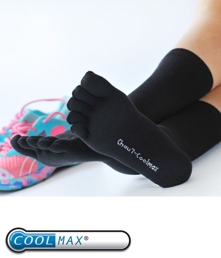 Chaussettes noires avec orteils séparés en Coolmax anti-transpiration. Chaussettes pour femme idéal pour le sport http://www.chau7.fr/chaussettes-doigts-coolmax-blanc-noir.html#