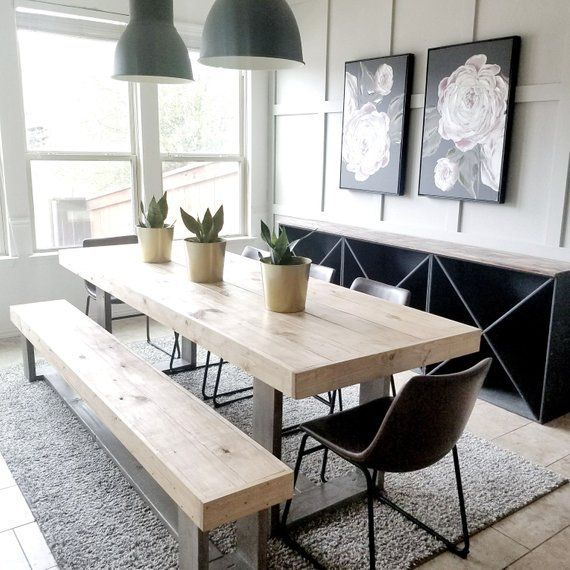 This Table Set Is Great For So Many Reasons The Style Mix Of Modern An Rustic Farmhouse Dining Table Modern Farmhouse Dining Room Farmhouse Dining Rooms Decor