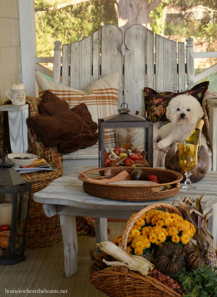 a fall nook on the porch - Decorating For Autumn