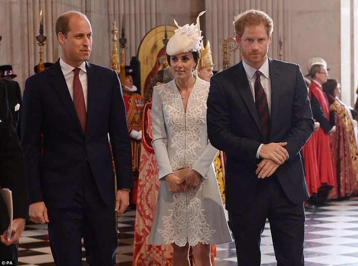 The close trio - William, Kate and Harry - arrived at the special service together...