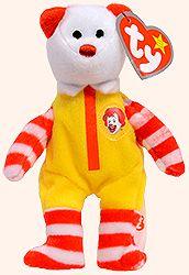 Ronald McDonald the Bear - Ty Teenie Beanie Babies - McDonalds promotion USA 2004