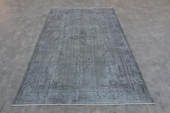Gray Rug 9 3 X5 7 Ft 285x176 Cm Gray Carpet Gray Floor Carpet Overdyed Gray Rug Gray Floor Rug Gray Salon Rug Gray Kitchen Rug