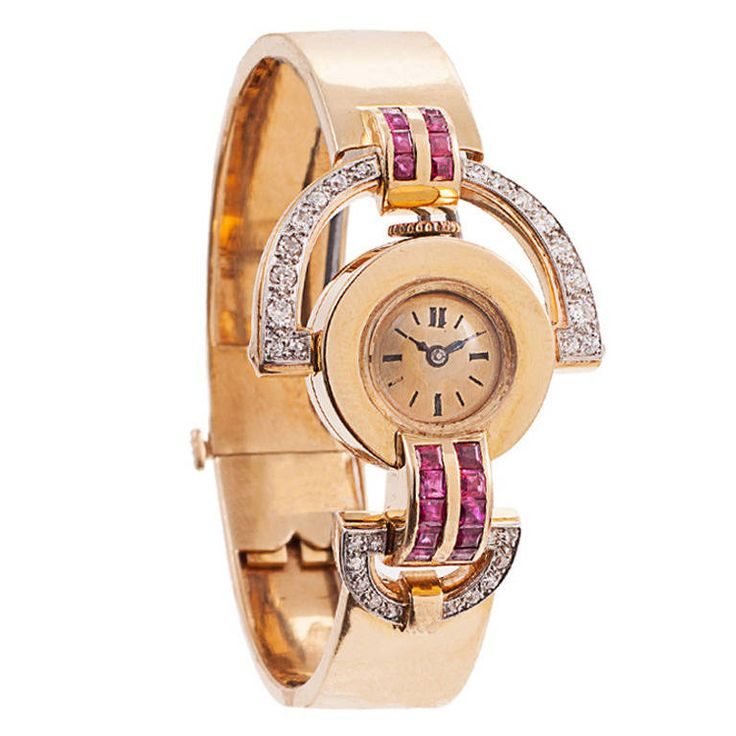 Lady's Gold, Diamond and Ruby Retro Bracelet Watch | From a unique collection of vintage wrist watches at https://www.1stdibs.com/jewelry/watches/wrist-watches/