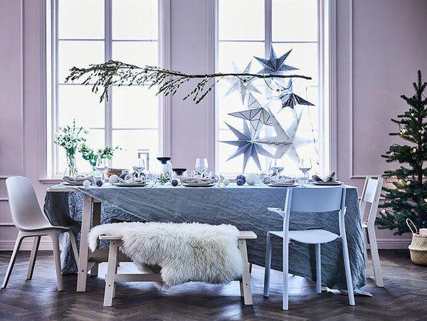 Mesa navideña de estilo nórdico