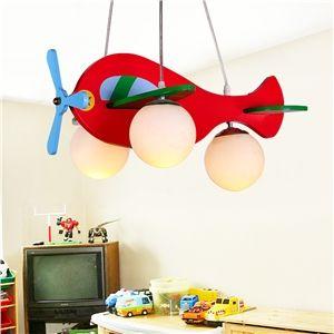 LED Pendelleuchte Kinderzimmer Flugzeug Design 3-flammig Holz