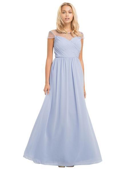 Vestido largo con cristales y drapeado en color pastel