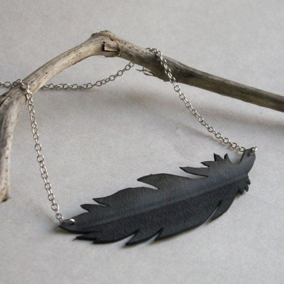 Black Feather Silhouette Necklace  upcycled door Gloomstopper, $20.00