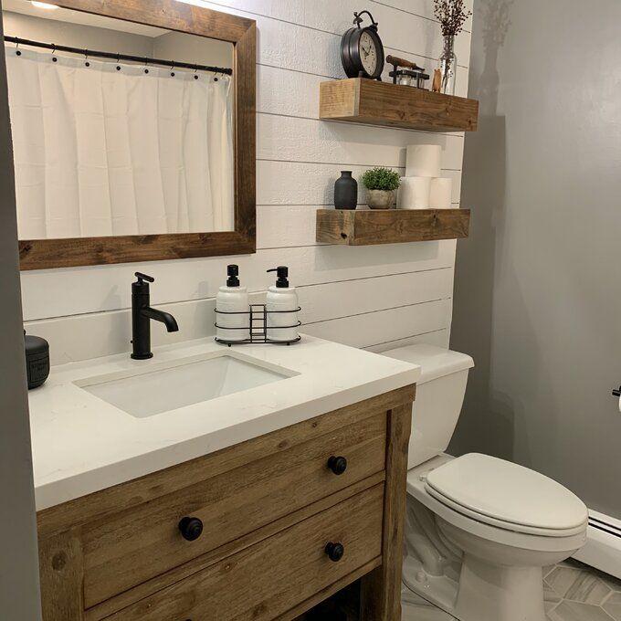 Samara Farmhouse Country Distressed Bathroom Vanity Mirror In 2020 Distressed Bathroom Vanity Bathroom Farmhouse Style Farmhouse Vanity