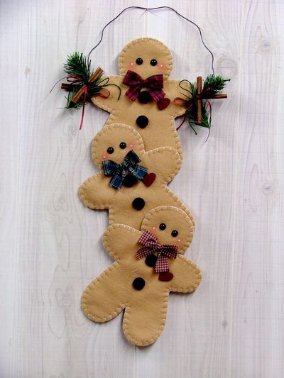 Felt gingerbread Cookies - can also make the gingerbread men out of heavy, brown paper bags, stitched on the machine and stuffed with some cotton.
