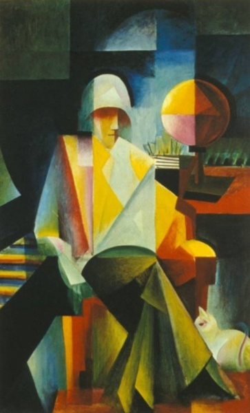 Johannes Itten .In the cubist portrait Der Bachsänger (The Bach Singer; 1916), the figure of the Bach singer is employed symbolically in order to develop a pictorial structure whose complexity , transparency , and, above all, crystalline rigor were meant to reflect the polyphony of a Bach fugue. The musical correlative contrapuntality of colors rests on an elaborate pictorial construction proportioned so as to approximate the golden ratio.