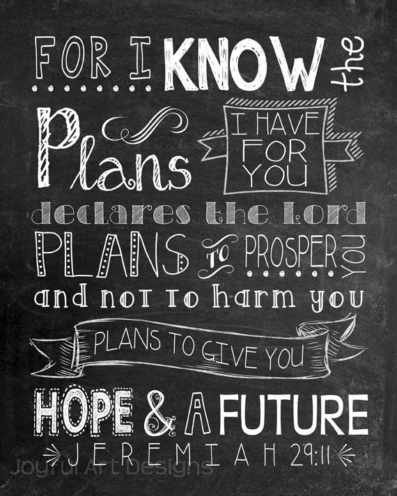Scripture Art -For I know the Plans I have for you ...