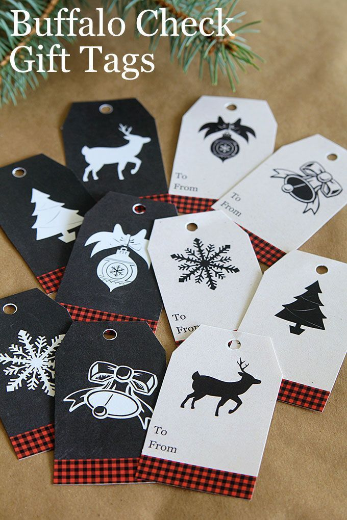 FREE printable buffalo check gift tags for Christmas gift wrapping. These rustic chalkboard inspired tags are great for tying on wine bottles too.