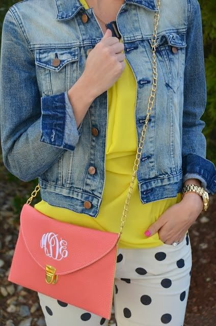 Jeans Jacket With Yellow Blouse and Polka Dots