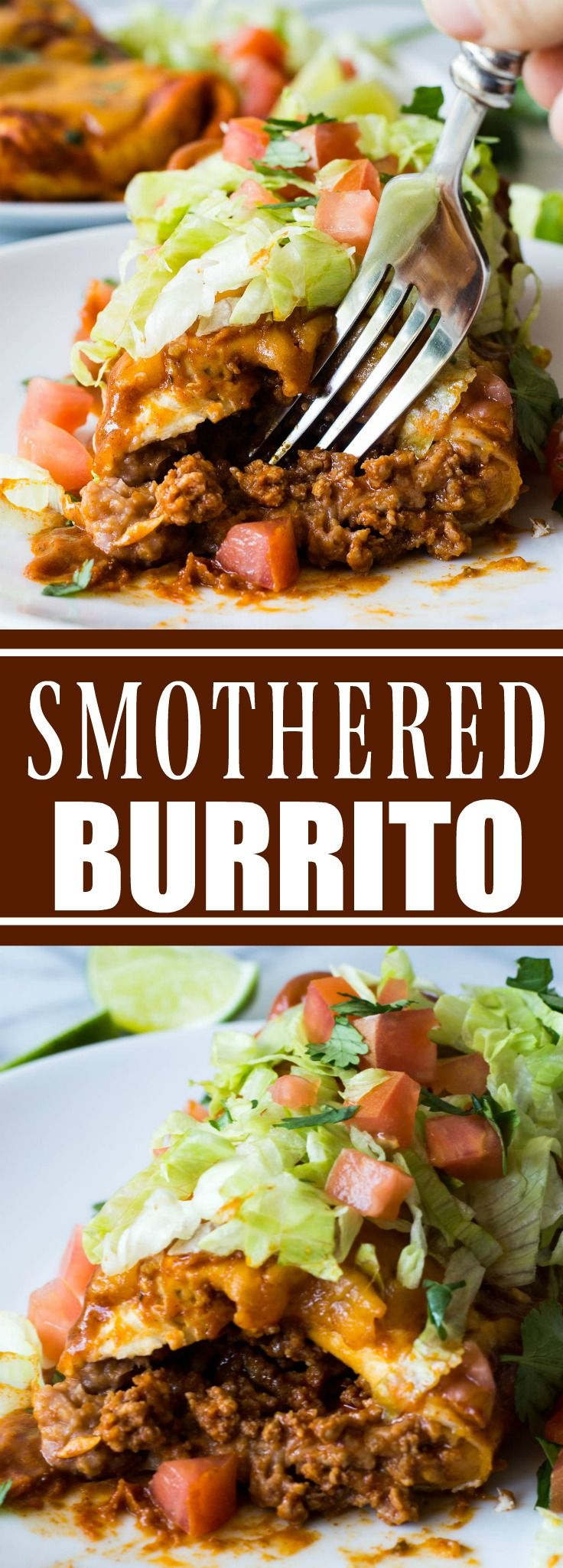 Smothered Burrito! These large burritos are bursting with ground beef simmered in a homemade taco seasoning, smooth and creamy refried beans, and lots of melty cheese! Then smothered in homemade chili gravy and even more cheese! Hearty, savory, and comforting! These easy smothered burritos will quickly become a favorite dinner!