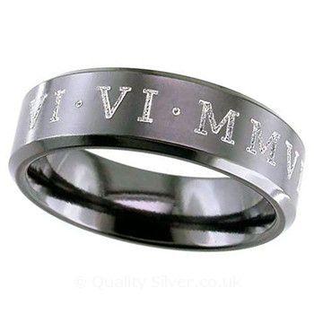 Geti Black Zirconium Roman Numeral Ring Geti Titanium Rings available from http://www.qualitysilver.co.uk/Jewellery/Geti-Rings.html