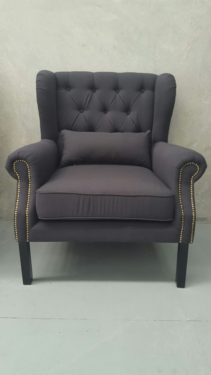 Black French Wing Back Tufted Fabric Arm Chair  $600