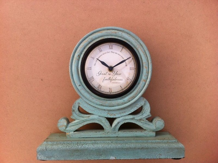 """I love this mantel clock, just ordered 2! Was $48 now only $8! Great is Your Faithfulness Mantel Clock 10""""W x 8 1/4""""H x 3""""D Great is Your faithfulness. LAMENTATIONS 3:22-23. With distressed accents of gold on a soft hue of antique teal, our clock is a statement piece when displayed on your mantel, shelf, or table top. #christiangifts #mantelclocks #clocks #homedecor  www.myblessingsunlimited.net/kendrak"""