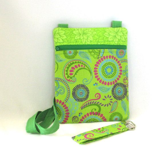 Paisley Crossbody Bag Handmade Hipster Purse Green Handbag