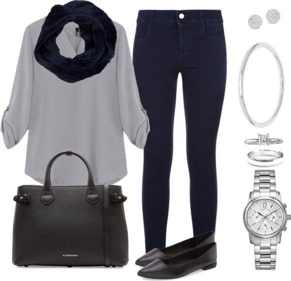 Andrea Moda y Asesoría: Blusa gris claro Pantalón azul oscuro